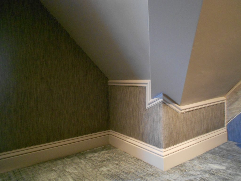 Fabric Walling around an awkward corner in a cinema room