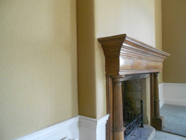 Fabric Walling in mustard wool above dado rail