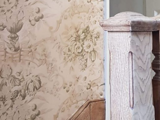 Country House Staircase - fabric walling